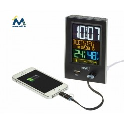 Sveglia radiocontrollata Charge-IT con prese di ricarica USB