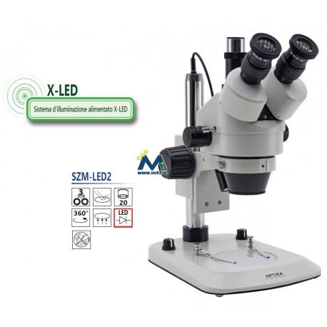 Optika SZM-LED2 Stereomicroscopio trinoculare zoom 7x-45x