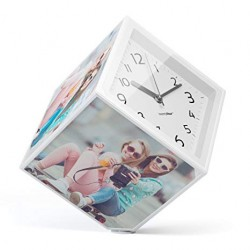 Cubo portafoto rotante con orologio