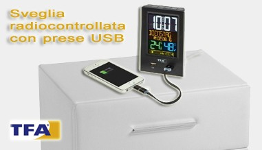 Sveglia radiocontrollata display a colori e prese USB